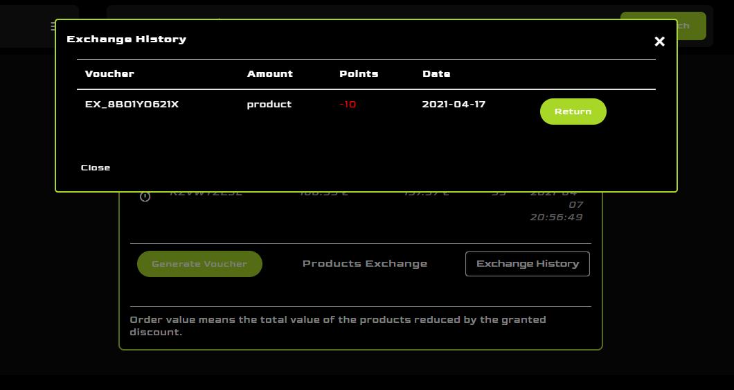 My account, loyalty program exchange history list at Mancraft online shop