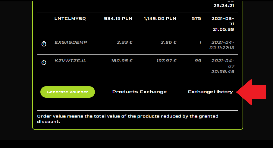 My account, loyalty program exchange history at Mancraft online shop