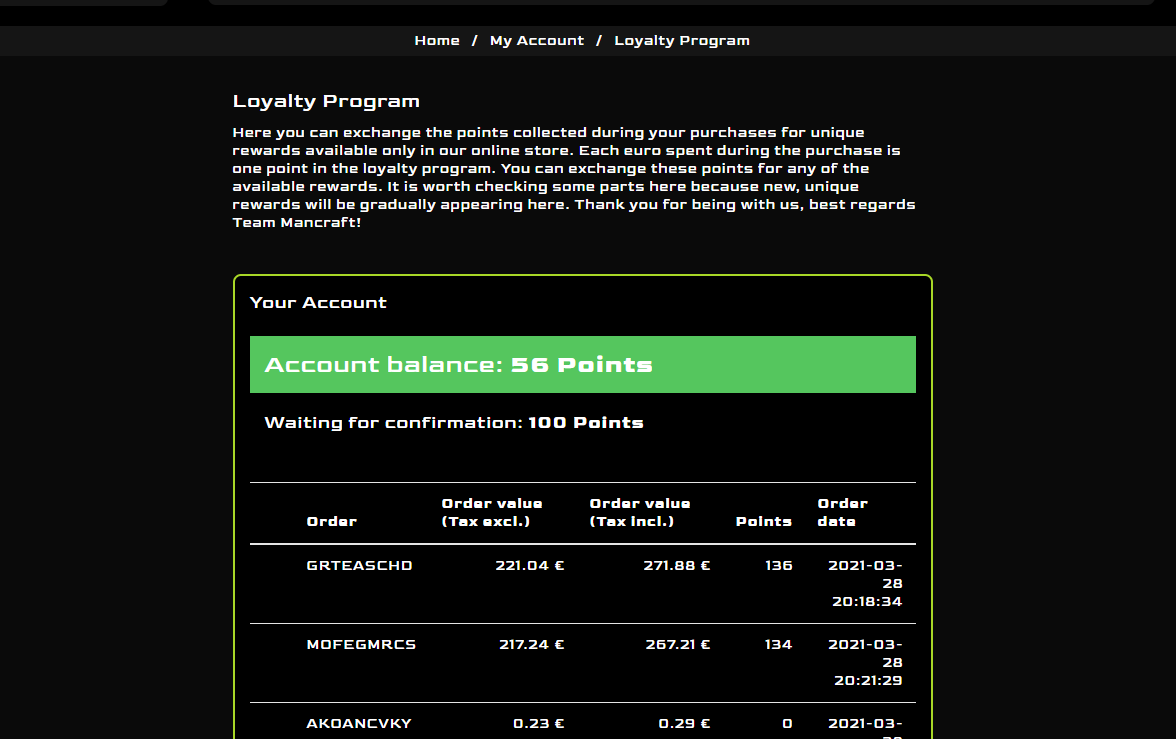 My account, loyalty program dashboard at Mancraft online shop
